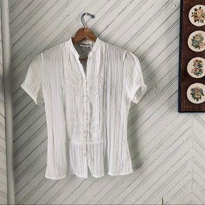 Vtg Semi Sheer White Pleated & Beaded Blouse